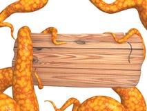 Tentáculos de un monstruo, llevando a cabo a una tarjeta de madera Imagen de archivo