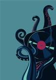 Tentáculos del pulpo con la placa giratoria del disco de vinilo Plantilla del cartel del partido Imagenes de archivo