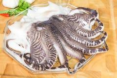 Tentáculos frescos do calamar Fotografia de Stock