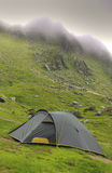 Tent. In a mountaneos area during a cloudy moment.Location:Fagaras mountains,Romania Royalty Free Stock Image