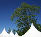 Tent. Ed roof against a bright blue sky royalty free stock image