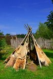 A tent. In a reconstructed Stone Age village stock photography