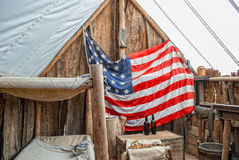 The tent. The old soldier's tent with American flag Stock Photos