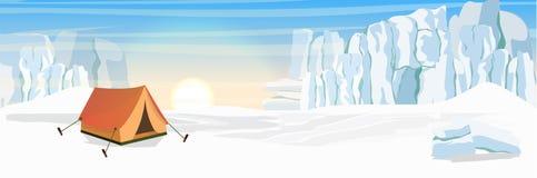 Tent aan het noorden Extreem toerisme in het Noorden royalty-vrije illustratie