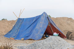 Tent accommodation For construction workers In rural Royalty Free Stock Images