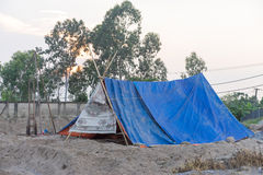 Tent accommodation For construction workers In rural Royalty Free Stock Photography