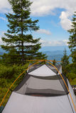 Tent сamp in the coniferous forest Royalty Free Stock Photo