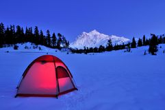 Tent And Mt Shuksan Royalty Free Stock Image