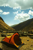 Tent in the Andes mountain stock photography