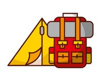 Tent and backpack camp travel vacations. Vector illustration royalty free illustration