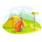 Tent, backpack, mountain landscape Royalty Free Stock Image