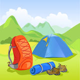 Tent, backpack, mountain landscape Royalty Free Stock Photo