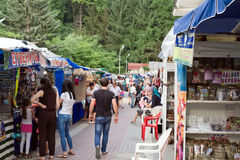 Tent Bazaar with a variety of souvenir shops Royalty Free Stock Photos
