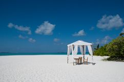Tent on the beach. Tent on a sand beach in Maldives Royalty Free Stock Image