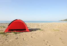 Tent on the beach. Waiting for you Royalty Free Stock Photos