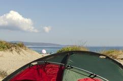 Tent on a beach. Black sea coast Stock Photography
