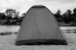 Tent on a beach. Black and White Royalty Free Stock Photo
