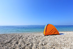 Tent on the beach. Camping tent on the beach Stock Photos