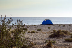 Tent on a beach. Tent camping on a lonely sandy beach Stock Photo