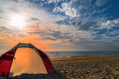 Tent on the beach at Chelsea, Victoria, Australia. Tent on the beach at sunset at Chelsea, Victoria, Australia Royalty Free Stock Image