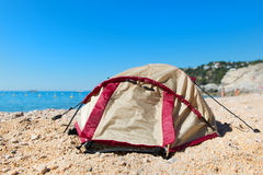 Tent at the beach. Dome tent at the beach Stock Image