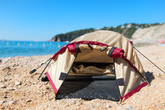 Tent at the beach. Dome tent at the beach Royalty Free Stock Photography