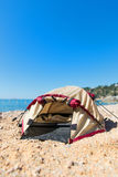 Tent at the beach. Dome tent at the beach Royalty Free Stock Images