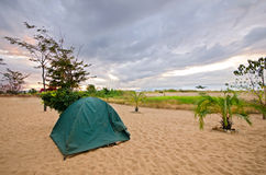 Tent on the Beach with dramatic sky Stock Photos