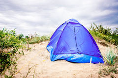 Tent on the beach. Tent on the beach dunes Stock Photos