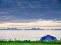 Tent on beach, Lofoten islands, Norway royalty free stock photo