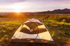 Tent in bergen Stock Fotografie