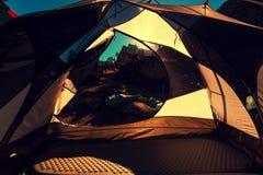 Tent in bergen Stock Foto