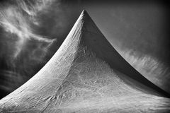 Tent. In black and white royalty free stock photo