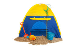 Tent in blue and yellow Royalty Free Stock Image