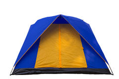 Tent blue and yellow. On a white background Royalty Free Stock Images