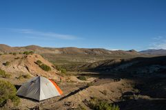 Tent on bolivian`s mountains Royalty Free Stock Photos