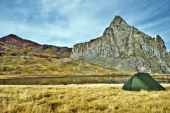 Tent in border of Anayet lake Royalty Free Stock Photos