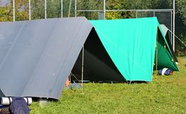 Tent of boy scout camp stock image