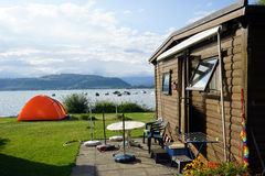 Tent and bungalow Stock Image