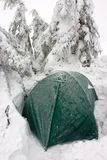 Tent Buried in Snow in Misty Winter Landscape Stock Images