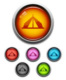 Tent button icon. Glossy camping tent button icon set in 6 colors Stock Image