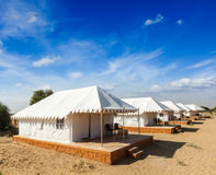 Tent camp in desert. Jaisalmer, Rajasthan, India. Royalty Free Stock Image
