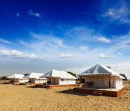 Tent camp in desert. Jaisalmer, Rajasthan, India. Royalty Free Stock Photos