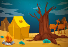 A tent with a camp fire. Illustration of a tent with a camp fire Royalty Free Stock Photos