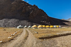 Tent camp in Himalayas Stock Photo