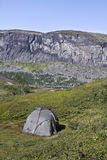 Tent camp. In mountain areas of Swedish Lapland royalty free stock photography