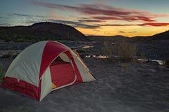 Tent camp at night in baja california desert Royalty Free Stock Images