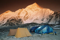Tent camp site, Nepal. Mt. Nupche from Gorak Shep and camp site in Sagarmatha N.P Stock Images