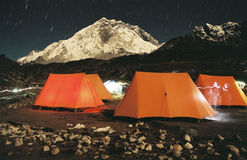 Tent camp site, Nepal. Mt. Nupche from Lobuche village and camp site in Sagarmatha N.P Royalty Free Stock Photography