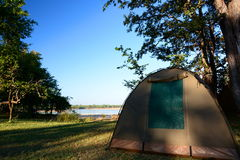 Tent camp. South Luangwa National Park. Zambia. South Luangwa National Park in eastern Zambia, the southernmost of three national parks in the valley of the Stock Photo